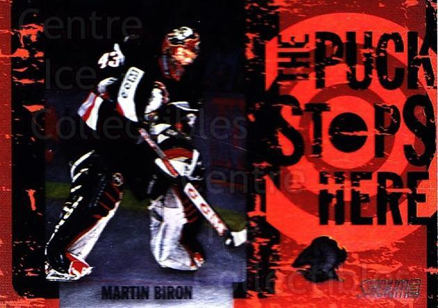 2002-03 Stadium Club Puck Stops Here #5 Martin Biron<br/>7 In Stock - $3.00 each - <a href=https://centericecollectibles.foxycart.com/cart?name=2002-03%20Stadium%20Club%20Puck%20Stops%20Here%20%235%20Martin%20Biron...&quantity_max=7&price=$3.00&code=106868 class=foxycart> Buy it now! </a>