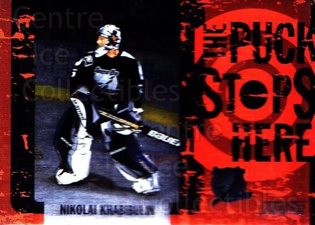 2002-03 Stadium Club Puck Stops Here #8 Nikolai Khabibulin<br/>6 In Stock - $3.00 each - <a href=https://centericecollectibles.foxycart.com/cart?name=2002-03%20Stadium%20Club%20Puck%20Stops%20Here%20%238%20Nikolai%20Khabibu...&quantity_max=6&price=$3.00&code=106871 class=foxycart> Buy it now! </a>