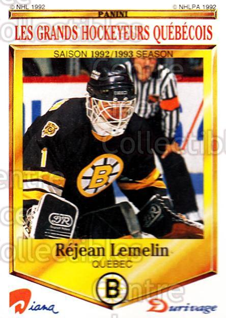 1992-93 Durivage Panini #48 Rejean Lemelin<br/>6 In Stock - $2.00 each - <a href=https://centericecollectibles.foxycart.com/cart?name=1992-93%20Durivage%20Panini%20%2348%20Rejean%20Lemelin...&price=$2.00&code=10711 class=foxycart> Buy it now! </a>