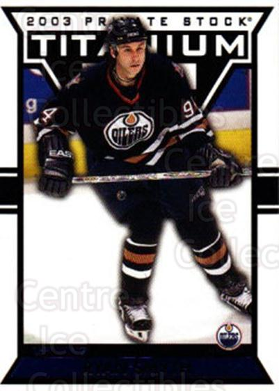 2002-03 Titanium Blue #44 Ryan Smyth<br/>4 In Stock - $3.00 each - <a href=https://centericecollectibles.foxycart.com/cart?name=2002-03%20Titanium%20Blue%20%2344%20Ryan%20Smyth...&quantity_max=4&price=$3.00&code=107330 class=foxycart> Buy it now! </a>