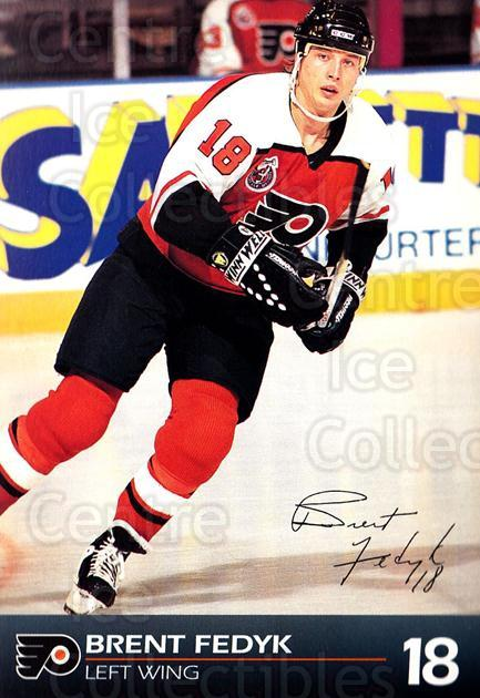 1992-93 Philadelphia Flyers Postcards #12 Brent Fedyk<br/>3 In Stock - $3.00 each - <a href=https://centericecollectibles.foxycart.com/cart?name=1992-93%20Philadelphia%20Flyers%20Postcards%20%2312%20Brent%20Fedyk...&price=$3.00&code=10743 class=foxycart> Buy it now! </a>