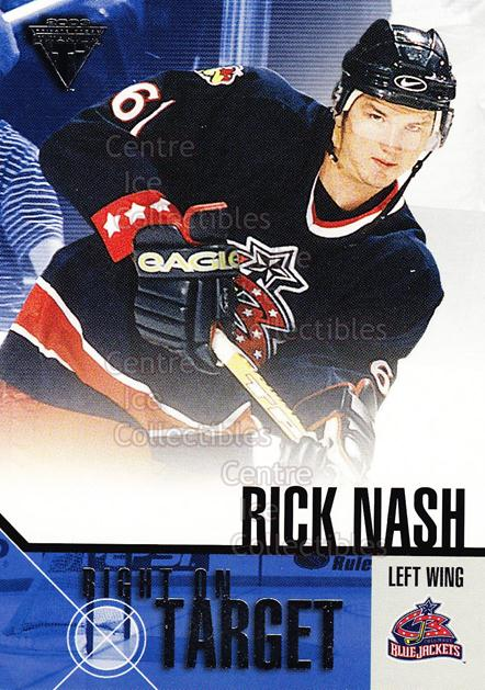2002-03 Titanium Right on Target #6 Rick Nash<br/>10 In Stock - $3.00 each - <a href=https://centericecollectibles.foxycart.com/cart?name=2002-03%20Titanium%20Right%20on%20Target%20%236%20Rick%20Nash...&quantity_max=10&price=$3.00&code=107481 class=foxycart> Buy it now! </a>