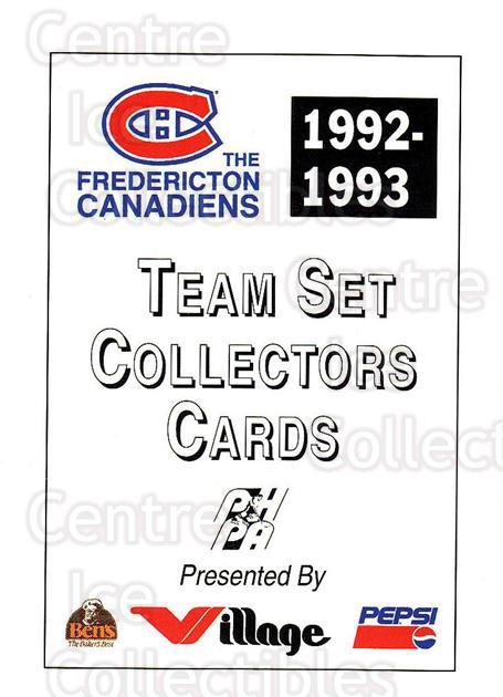 1992-93 Fredericton Canadiens #29 Header Card, Checklist<br/>6 In Stock - $3.00 each - <a href=https://centericecollectibles.foxycart.com/cart?name=1992-93%20Fredericton%20Canadiens%20%2329%20Header%20Card,%20Ch...&price=$3.00&code=10771 class=foxycart> Buy it now! </a>