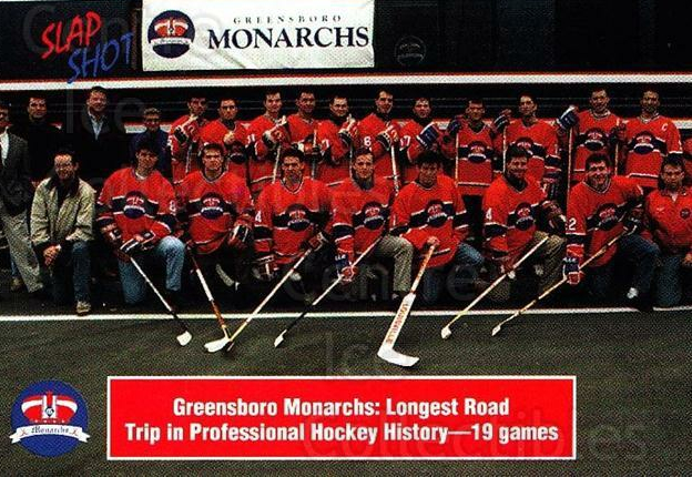 1992-93 Greensboro Monarchs #1 Greensboro Monarchs, Team Photo<br/>3 In Stock - $3.00 each - <a href=https://centericecollectibles.foxycart.com/cart?name=1992-93%20Greensboro%20Monarchs%20%231%20Greensboro%20Mona...&quantity_max=3&price=$3.00&code=10777 class=foxycart> Buy it now! </a>