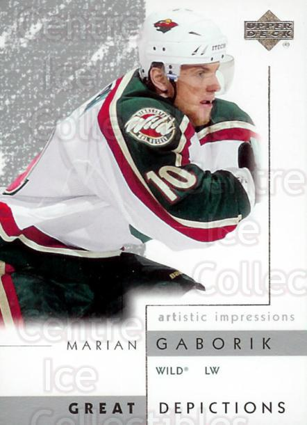 2002-03 UD Artistic Impressions Great Depictions #11 Marian Gaborik<br/>2 In Stock - $2.00 each - <a href=https://centericecollectibles.foxycart.com/cart?name=2002-03%20UD%20Artistic%20Impressions%20Great%20Depictions%20%2311%20Marian%20Gaborik...&quantity_max=2&price=$2.00&code=108305 class=foxycart> Buy it now! </a>