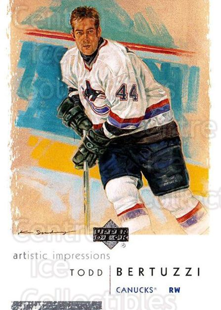 2002-03 UD Artistic Impressions #85 Todd Bertuzzi<br/>8 In Stock - $1.00 each - <a href=https://centericecollectibles.foxycart.com/cart?name=2002-03%20UD%20Artistic%20Impressions%20%2385%20Todd%20Bertuzzi...&quantity_max=8&price=$1.00&code=108507 class=foxycart> Buy it now! </a>
