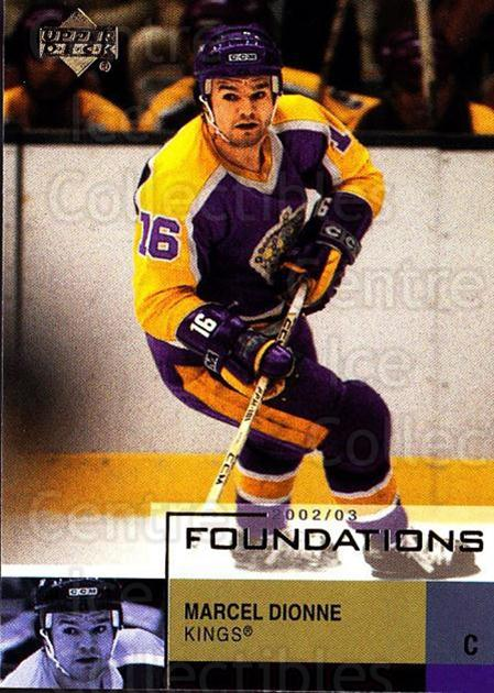 2002-03 UD Foundations #42 Marcel Dionne<br/>7 In Stock - $1.00 each - <a href=https://centericecollectibles.foxycart.com/cart?name=2002-03%20UD%20Foundations%20%2342%20Marcel%20Dionne...&quantity_max=7&price=$1.00&code=108609 class=foxycart> Buy it now! </a>
