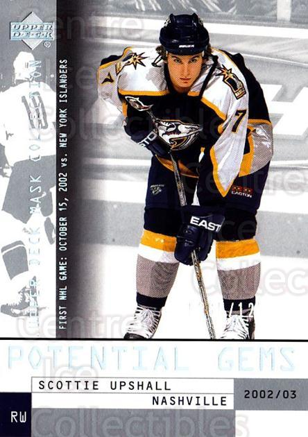 2002-03 UD Mask Collection #176 Scottie Upshall<br/>5 In Stock - $3.00 each - <a href=https://centericecollectibles.foxycart.com/cart?name=2002-03%20UD%20Mask%20Collection%20%23176%20Scottie%20Upshall...&quantity_max=5&price=$3.00&code=108773 class=foxycart> Buy it now! </a>