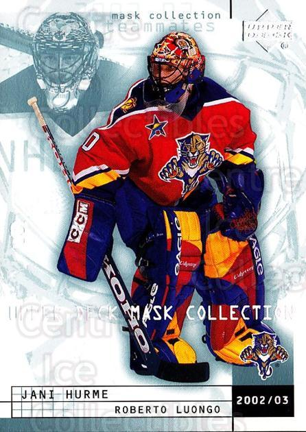 2002-03 UD Mask Collection #38 Jani Hurme, Roberto Luongo<br/>5 In Stock - $1.00 each - <a href=https://centericecollectibles.foxycart.com/cart?name=2002-03%20UD%20Mask%20Collection%20%2338%20Jani%20Hurme,%20Rob...&quantity_max=5&price=$1.00&code=108796 class=foxycart> Buy it now! </a>