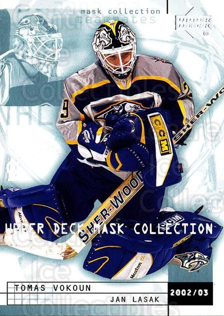 2002-03 UD Mask Collection #49 Tomas Vokoun, Jan Lasak<br/>3 In Stock - $1.00 each - <a href=https://centericecollectibles.foxycart.com/cart?name=2002-03%20UD%20Mask%20Collection%20%2349%20Tomas%20Vokoun,%20J...&price=$1.00&code=108808 class=foxycart> Buy it now! </a>