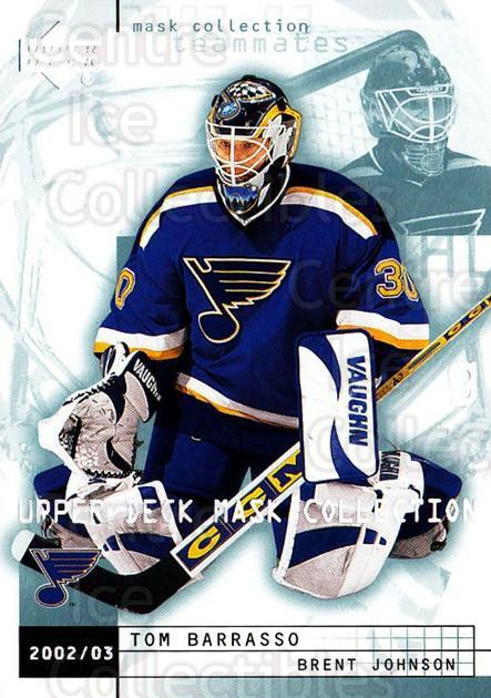 2002-03 UD Mask Collection #76 Tom Barrasso, Brent Johnson<br/>3 In Stock - $1.00 each - <a href=https://centericecollectibles.foxycart.com/cart?name=2002-03%20UD%20Mask%20Collection%20%2376%20Tom%20Barrasso,%20B...&price=$1.00&code=108836 class=foxycart> Buy it now! </a>