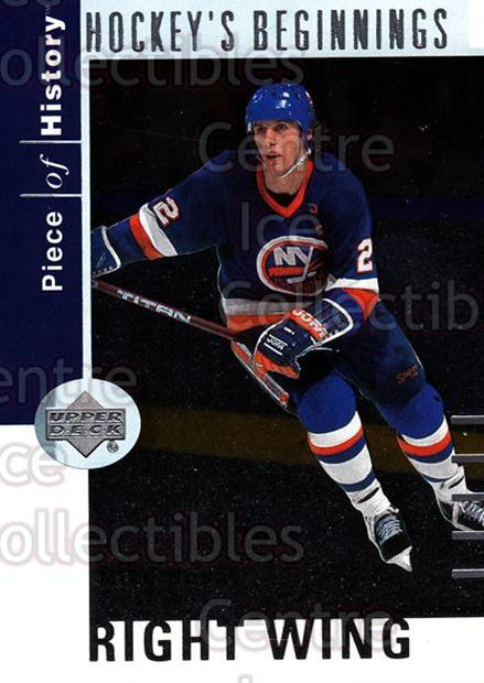 2002-03 UD Piece of History Hockey Beginnings #7 Mike Bossy<br/>5 In Stock - $2.00 each - <a href=https://centericecollectibles.foxycart.com/cart?name=2002-03%20UD%20Piece%20of%20History%20Hockey%20Beginnings%20%237%20Mike%20Bossy...&price=$2.00&code=108861 class=foxycart> Buy it now! </a>