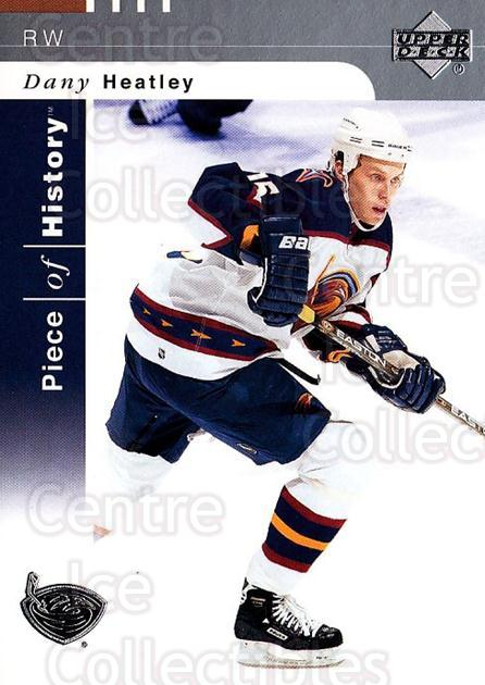 2002-03 UD Piece of History #4 Dany Heatley<br/>5 In Stock - $1.00 each - <a href=https://centericecollectibles.foxycart.com/cart?name=2002-03%20UD%20Piece%20of%20History%20%234%20Dany%20Heatley...&quantity_max=5&price=$1.00&code=108904 class=foxycart> Buy it now! </a>