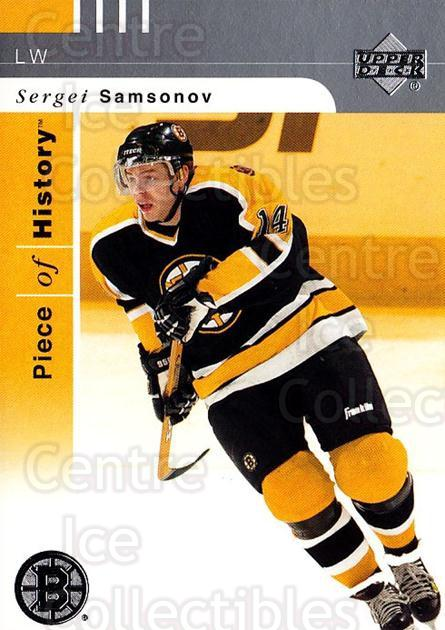 2002-03 UD Piece of History #6 Sergei Samsonov<br/>5 In Stock - $1.00 each - <a href=https://centericecollectibles.foxycart.com/cart?name=2002-03%20UD%20Piece%20of%20History%20%236%20Sergei%20Samsonov...&quantity_max=5&price=$1.00&code=108923 class=foxycart> Buy it now! </a>