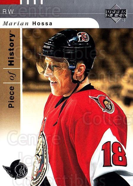 2002-03 UD Piece of History #63 Marian Hossa<br/>6 In Stock - $1.00 each - <a href=https://centericecollectibles.foxycart.com/cart?name=2002-03%20UD%20Piece%20of%20History%20%2363%20Marian%20Hossa...&quantity_max=6&price=$1.00&code=108927 class=foxycart> Buy it now! </a>