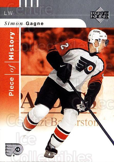2002-03 UD Piece of History #66 Simon Gagne<br/>5 In Stock - $1.00 each - <a href=https://centericecollectibles.foxycart.com/cart?name=2002-03%20UD%20Piece%20of%20History%20%2366%20Simon%20Gagne...&quantity_max=5&price=$1.00&code=108930 class=foxycart> Buy it now! </a>