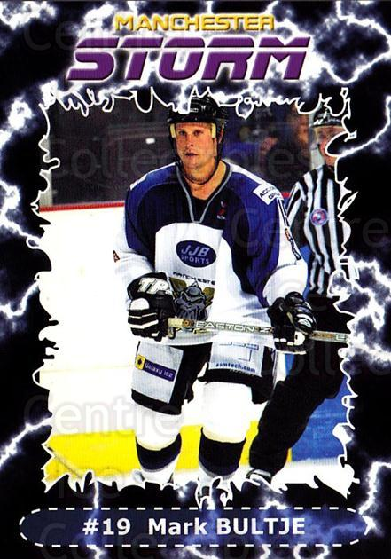 2002-03 UK British Elite Manchester Storm #8 Mark Bultje<br/>7 In Stock - $2.00 each - <a href=https://centericecollectibles.foxycart.com/cart?name=2002-03%20UK%20British%20Elite%20Manchester%20Storm%20%238%20Mark%20Bultje...&quantity_max=7&price=$2.00&code=109160 class=foxycart> Buy it now! </a>