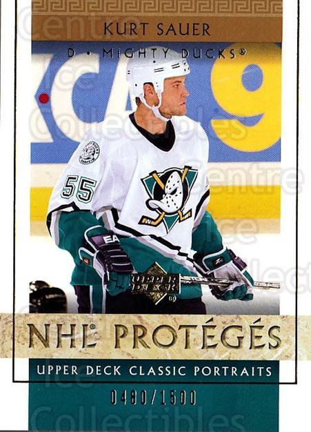 2002-03 UD Classic Portraits #104 Kurt Sauer<br/>6 In Stock - $3.00 each - <a href=https://centericecollectibles.foxycart.com/cart?name=2002-03%20UD%20Classic%20Portraits%20%23104%20Kurt%20Sauer...&quantity_max=6&price=$3.00&code=109234 class=foxycart> Buy it now! </a>