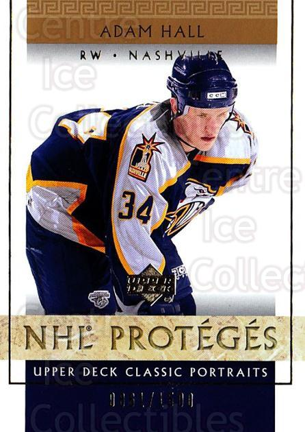 2002-03 UD Classic Portraits #120 Adam Hall<br/>6 In Stock - $3.00 each - <a href=https://centericecollectibles.foxycart.com/cart?name=2002-03%20UD%20Classic%20Portraits%20%23120%20Adam%20Hall...&quantity_max=6&price=$3.00&code=109245 class=foxycart> Buy it now! </a>