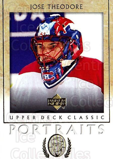 2002-03 UD Classic Portraits #53 Jose Theodore<br/>4 In Stock - $1.00 each - <a href=https://centericecollectibles.foxycart.com/cart?name=2002-03%20UD%20Classic%20Portraits%20%2353%20Jose%20Theodore...&quantity_max=4&price=$1.00&code=109295 class=foxycart> Buy it now! </a>