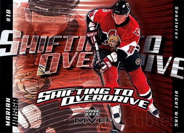 2002-03 Upper Deck MVP Shifting to Overdrive #10 Marian Hossa<br/>5 In Stock - $2.00 each - <a href=https://centericecollectibles.foxycart.com/cart?name=2002-03%20Upper%20Deck%20MVP%20Shifting%20to%20Overdrive%20%2310%20Marian%20Hossa...&quantity_max=5&price=$2.00&code=109674 class=foxycart> Buy it now! </a>