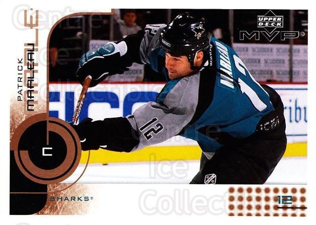 2002-03 Upper Deck MVP #156 Patrick Marleau<br/>7 In Stock - $1.00 each - <a href=https://centericecollectibles.foxycart.com/cart?name=2002-03%20Upper%20Deck%20MVP%20%23156%20Patrick%20Marleau...&quantity_max=7&price=$1.00&code=109753 class=foxycart> Buy it now! </a>