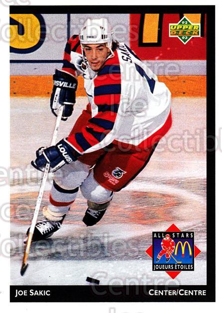 1992-93 McDonalds Upper Deck #26 Joe Sakic<br/>11 In Stock - $1.00 each - <a href=https://centericecollectibles.foxycart.com/cart?name=1992-93%20McDonalds%20Upper%20Deck%20%2326%20Joe%20Sakic...&price=$1.00&code=10982 class=foxycart> Buy it now! </a>