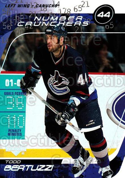2002-03 Upper Deck Number Crunchers #14 Todd Bertuzzi<br/>3 In Stock - $2.00 each - <a href=https://centericecollectibles.foxycart.com/cart?name=2002-03%20Upper%20Deck%20Number%20Crunchers%20%2314%20Todd%20Bertuzzi...&quantity_max=3&price=$2.00&code=109842 class=foxycart> Buy it now! </a>