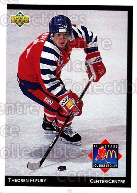 1992-93 McDonalds Upper Deck #7 Theo Fleury<br/>10 In Stock - $1.00 each - <a href=https://centericecollectibles.foxycart.com/cart?name=1992-93%20McDonalds%20Upper%20Deck%20%237%20Theo%20Fleury...&quantity_max=10&price=$1.00&code=10988 class=foxycart> Buy it now! </a>