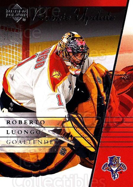 2002-03 Upper Deck Rookie Update #45 Roberto Luongo<br/>11 In Stock - $2.00 each - <a href=https://centericecollectibles.foxycart.com/cart?name=2002-03%20Upper%20Deck%20Rookie%20Update%20%2345%20Roberto%20Luongo...&quantity_max=11&price=$2.00&code=109916 class=foxycart> Buy it now! </a>