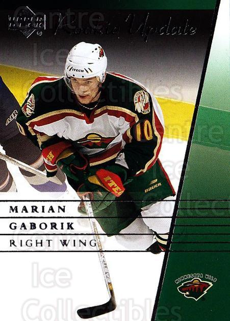 2002-03 Upper Deck Rookie Update #49 Marian Gaborik<br/>7 In Stock - $1.00 each - <a href=https://centericecollectibles.foxycart.com/cart?name=2002-03%20Upper%20Deck%20Rookie%20Update%20%2349%20Marian%20Gaborik...&quantity_max=7&price=$1.00&code=109920 class=foxycart> Buy it now! </a>