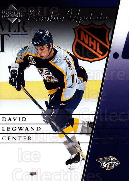 2002-03 Upper Deck Rookie Update #55 David Legwand<br/>10 In Stock - $1.00 each - <a href=https://centericecollectibles.foxycart.com/cart?name=2002-03%20Upper%20Deck%20Rookie%20Update%20%2355%20David%20Legwand...&quantity_max=10&price=$1.00&code=109927 class=foxycart> Buy it now! </a>