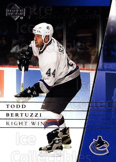 2002-03 Upper Deck Rookie Update #95 Todd Bertuzzi<br/>8 In Stock - $1.00 each - <a href=https://centericecollectibles.foxycart.com/cart?name=2002-03%20Upper%20Deck%20Rookie%20Update%20%2395%20Todd%20Bertuzzi...&quantity_max=8&price=$1.00&code=109967 class=foxycart> Buy it now! </a>