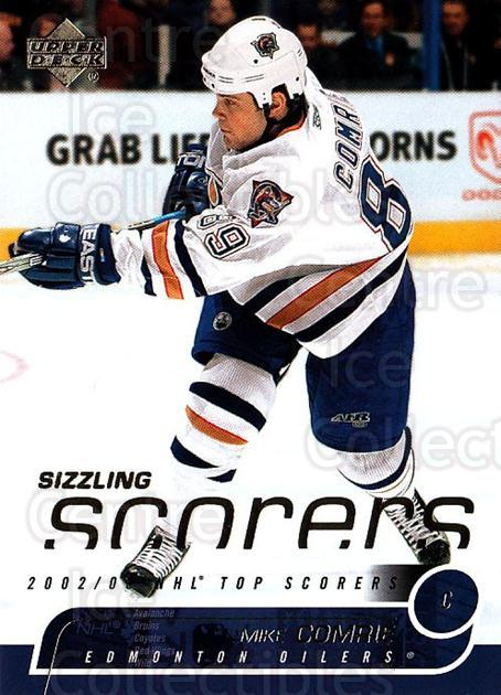 2002-03 Upper Deck Sizzling Scorers #8 Mike Comrie<br/>7 In Stock - $2.00 each - <a href=https://centericecollectibles.foxycart.com/cart?name=2002-03%20Upper%20Deck%20Sizzling%20Scorers%20%238%20Mike%20Comrie...&quantity_max=7&price=$2.00&code=109983 class=foxycart> Buy it now! </a>
