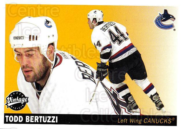 2002-03 UD Vintage #245 Todd Bertuzzi<br/>12 In Stock - $1.00 each - <a href=https://centericecollectibles.foxycart.com/cart?name=2002-03%20UD%20Vintage%20%23245%20Todd%20Bertuzzi...&quantity_max=12&price=$1.00&code=110358 class=foxycart> Buy it now! </a>