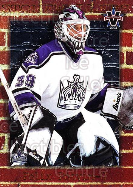 2002-03 Vanguard Stonewallers #5 Felix Potvin<br/>2 In Stock - $5.00 each - <a href=https://centericecollectibles.foxycart.com/cart?name=2002-03%20Vanguard%20Stonewallers%20%235%20Felix%20Potvin...&quantity_max=2&price=$5.00&code=110416 class=foxycart> Buy it now! </a>