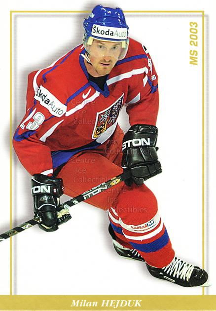 2003-04 Czech National Team Postcards #34 Milan Hejduk<br/>3 In Stock - $3.00 each - <a href=https://centericecollectibles.foxycart.com/cart?name=2003-04%20Czech%20National%20Team%20Postcards%20%2334%20Milan%20Hejduk...&quantity_max=3&price=$3.00&code=110576 class=foxycart> Buy it now! </a>