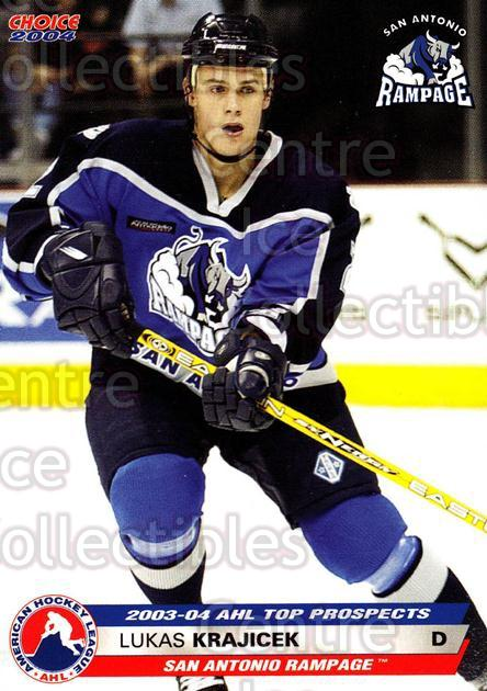 2003-04 AHL Top Prospects #15 Lukas Krajicek<br/>2 In Stock - $3.00 each - <a href=https://centericecollectibles.foxycart.com/cart?name=2003-04%20AHL%20Top%20Prospects%20%2315%20Lukas%20Krajicek...&quantity_max=2&price=$3.00&code=110869 class=foxycart> Buy it now! </a>