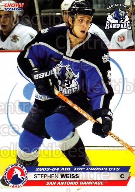 2003-04 AHL Top Prospects #43 Stephen Weiss<br/>5 In Stock - $3.00 each - <a href=https://centericecollectibles.foxycart.com/cart?name=2003-04%20AHL%20Top%20Prospects%20%2343%20Stephen%20Weiss...&quantity_max=5&price=$3.00&code=110897 class=foxycart> Buy it now! </a>