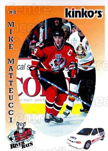 2003-04 Albany River Rats Kinkos #16 Mike Matteucci<br/>5 In Stock - $3.00 each - <a href=https://centericecollectibles.foxycart.com/cart?name=2003-04%20Albany%20River%20Rats%20Kinkos%20%2316%20Mike%20Matteucci...&quantity_max=5&price=$3.00&code=110913 class=foxycart> Buy it now! </a>