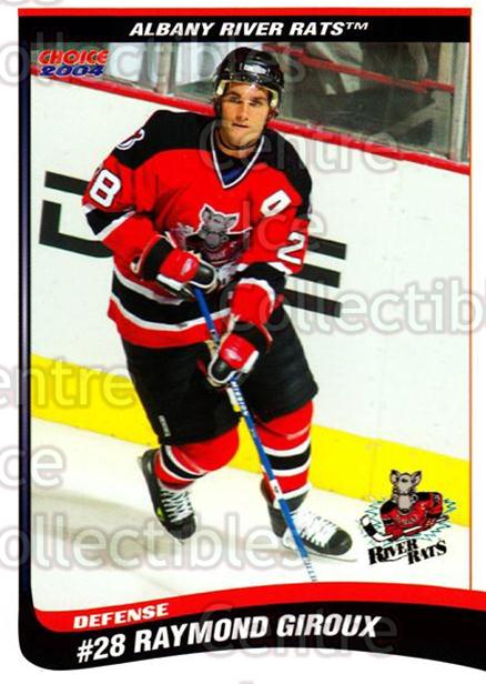 2003-04 Albany River Rats #12 Ray Giroux<br/>7 In Stock - $3.00 each - <a href=https://centericecollectibles.foxycart.com/cart?name=2003-04%20Albany%20River%20Rats%20%2312%20Ray%20Giroux...&price=$3.00&code=110925 class=foxycart> Buy it now! </a>