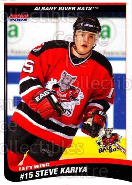 2003-04 Albany River Rats #17 Steve Kariya<br/>1 In Stock - $3.00 each - <a href=https://centericecollectibles.foxycart.com/cart?name=2003-04%20Albany%20River%20Rats%20%2317%20Steve%20Kariya...&quantity_max=1&price=$3.00&code=110930 class=foxycart> Buy it now! </a>