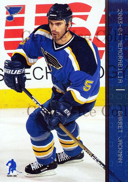 2003-04 BAP Memorabilia Sapphire #11 Barret Jackman<br/>2 In Stock - $5.00 each - <a href=https://centericecollectibles.foxycart.com/cart?name=2003-04%20BAP%20Memorabilia%20Sapphire%20%2311%20Barret%20Jackman...&quantity_max=2&price=$5.00&code=111188 class=foxycart> Buy it now! </a>