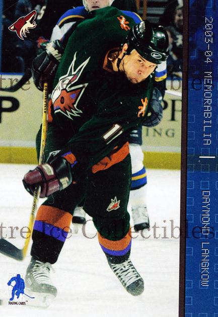 2003-04 BAP Memorabilia Sapphire #22 Daymond Langkow<br/>2 In Stock - $5.00 each - <a href=https://centericecollectibles.foxycart.com/cart?name=2003-04%20BAP%20Memorabilia%20Sapphire%20%2322%20Daymond%20Langkow...&quantity_max=2&price=$5.00&code=111210 class=foxycart> Buy it now! </a>