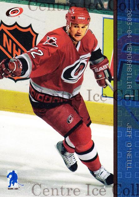 2003-04 BAP Memorabilia Sapphire #38 Jeff O'Neill<br/>2 In Stock - $5.00 each - <a href=https://centericecollectibles.foxycart.com/cart?name=2003-04%20BAP%20Memorabilia%20Sapphire%20%2338%20Jeff%20O'Neill...&quantity_max=2&price=$5.00&code=111215 class=foxycart> Buy it now! </a>