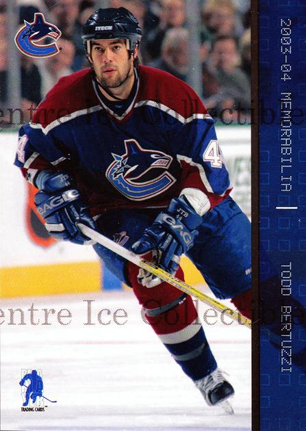 2003-04 BAP Memorabilia Sapphire #94 Todd Bertuzzi<br/>2 In Stock - $5.00 each - <a href=https://centericecollectibles.foxycart.com/cart?name=2003-04%20BAP%20Memorabilia%20Sapphire%20%2394%20Todd%20Bertuzzi...&quantity_max=2&price=$5.00&code=111229 class=foxycart> Buy it now! </a>