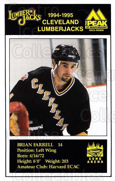 1994-95 Cleveland Lumberjacks Postcards #11 Brian Farrell<br/>5 In Stock - $3.00 each - <a href=https://centericecollectibles.foxycart.com/cart?name=1994-95%20Cleveland%20Lumberjacks%20Postcards%20%2311%20Brian%20Farrell...&quantity_max=5&price=$3.00&code=1112 class=foxycart> Buy it now! </a>