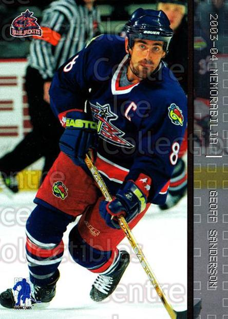 2003-04 BAP Memorabilia #28 Geoff Sanderson<br/>7 In Stock - $1.00 each - <a href=https://centericecollectibles.foxycart.com/cart?name=2003-04%20BAP%20Memorabilia%20%2328%20Geoff%20Sanderson...&quantity_max=7&price=$1.00&code=111394 class=foxycart> Buy it now! </a>