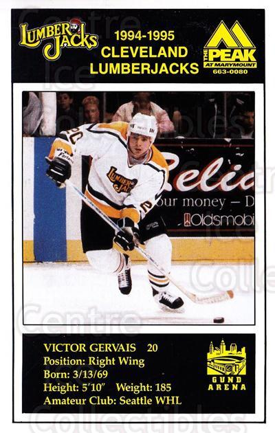1994-95 Cleveland Lumberjacks Postcards #13 Victor Gervais<br/>4 In Stock - $3.00 each - <a href=https://centericecollectibles.foxycart.com/cart?name=1994-95%20Cleveland%20Lumberjacks%20Postcards%20%2313%20Victor%20Gervais...&quantity_max=4&price=$3.00&code=1116 class=foxycart> Buy it now! </a>