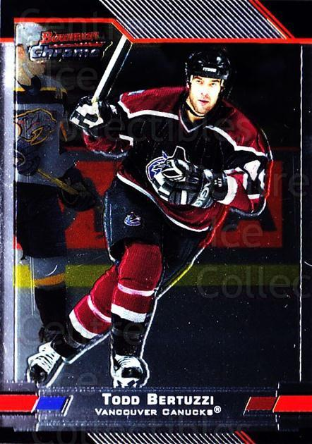 2003-04 Bowman Chrome #44 Todd Bertuzzi<br/>6 In Stock - $1.00 each - <a href=https://centericecollectibles.foxycart.com/cart?name=2003-04%20Bowman%20Chrome%20%2344%20Todd%20Bertuzzi...&quantity_max=6&price=$1.00&code=111835 class=foxycart> Buy it now! </a>
